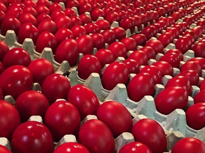 Jaja ofarbana u crvenu boju